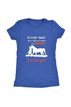 I Am That Girl - Tops-Tops-teelaunch-Ladies Triblend-Royal Blue-S-Three Wild Horses