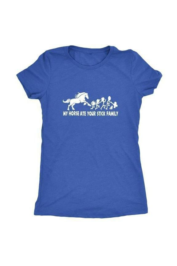 My Horse Ate Your Stick Family - Tops-Tops-teelaunch-Ladies Triblend-Royal Blue-S-Three Wild Horses