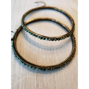Rebel Designs Large Beaded Hoop Earrings, African Turquoise-Earrings-Rebel Designs-Three Wild Horses