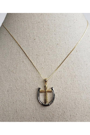 Gray A Rider's Prayer Equestrian  Horseshoe Necklace -  Gold/Silver on Gold Chain