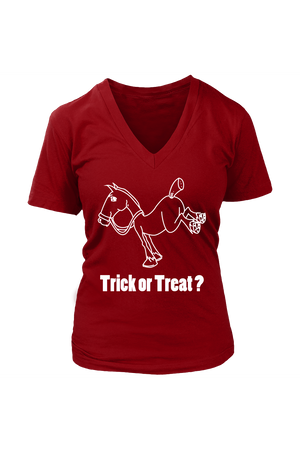 Trick Or Treat? - Tops-Tops-teelaunch-Womens V-Neck-Red-S-Three Wild Horses
