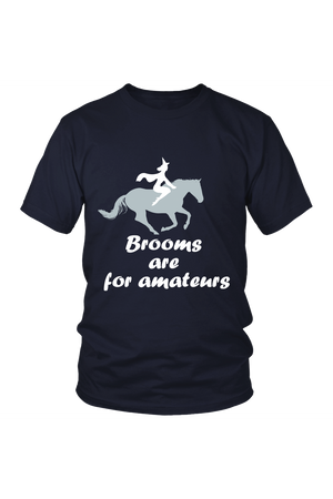 Brooms Are For Amateurs - Tops-Tops-teelaunch-Unisex Tee-Navy-S-Three Wild Horses
