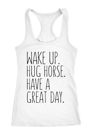White Smoke Hug Horse Have A Great Day Horse T-Shirt