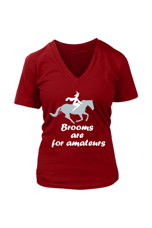 Brooms Are For Amateurs - Tops-Tops-teelaunch-Womens V-Neck-Red-S-Three Wild Horses