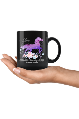 Libra Zodiac Horse Black Mug-Drinkware-teelaunch-Libra Purple Horse Black Mug-Three Wild Horses