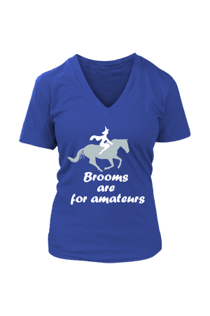 Brooms Are For Amateurs - Tops-Tops-teelaunch-Womens V-Neck-Royal Blue-S-Three Wild Horses