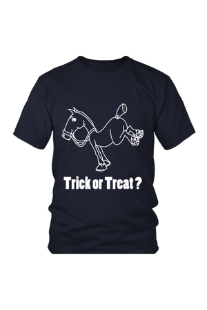 Trick Or Treat? - Tops-Tops-teelaunch-Unisex Tee-Navy-S-Three Wild Horses
