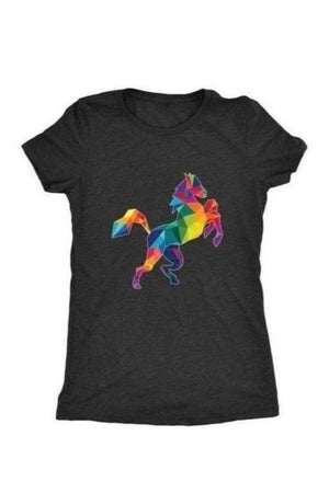 Horsing Around - Tops-Tops-teelaunch-Ladies Triblend-Black-S-Three Wild Horses