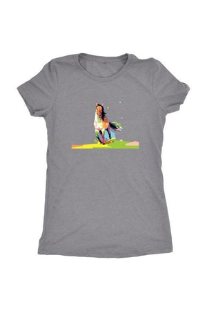 Running Around - Tops-Tops-teelaunch-Ladies Triblend-Grey-S-Three Wild Horses