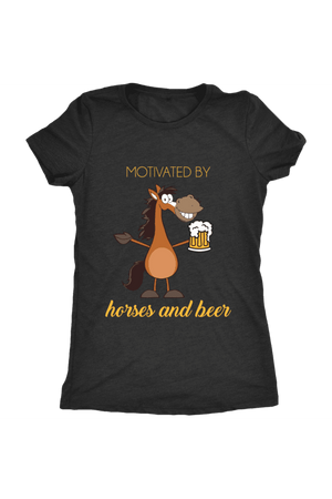 Horses and Beer - Tops-Tops-teelaunch-Ladies Triblend-Black-S-Three Wild Horses