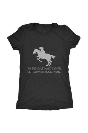 I Never Outgrew the Horse Phase - Tops-Tops-teelaunch-Ladies Triblend-Black-S-Three Wild Horses