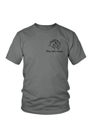 Three Wild Horses - White and Grey Tops-Tops-teelaunch-Unisex Tee-Grey-S-Three Wild Horses