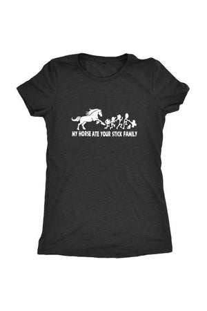 My Horse Ate Your Stick Family - Tops-Tops-teelaunch-Ladies Triblend-Black-S-Three Wild Horses