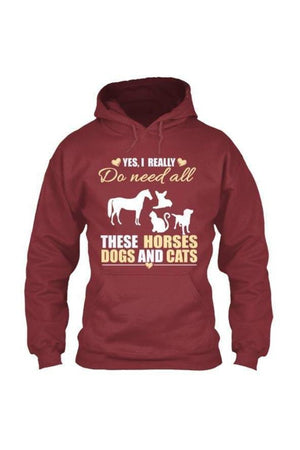 Yes, I really do need all these horses, dogs & cats - Long sleeve-Long Sleeve-Teescape-HOODIE-Red-S-Three Wild Horses