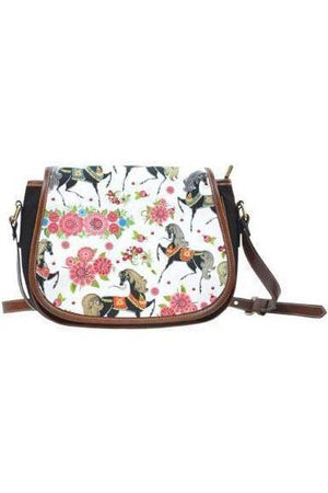 Horse themed Canvas/PU Leather Saddle Bag Handbag-Saddle Bag-Pillow Profits-4-Three Wild Horses