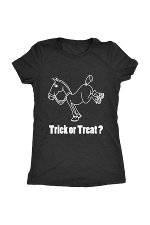 Trick Or Treat? - Tops-Tops-teelaunch-Ladies Triblend-Black-S-Three Wild Horses