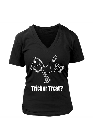 Trick Or Treat? - Tops-Tops-teelaunch-Womens V-Neck-Black-S-Three Wild Horses