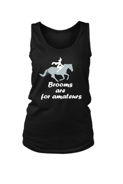 Brooms Are For Amateurs - Tank Tops-Tops-teelaunch-Black-S-Three Wild Horses