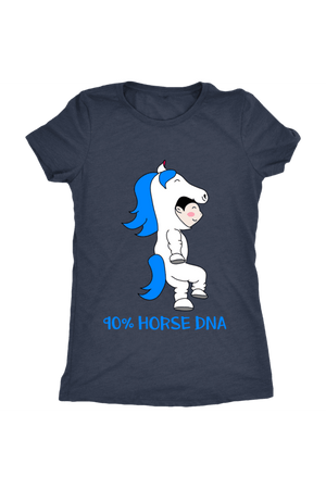 90% Horse DNA - Tops-Tops-teelaunch-Ladies Triblend-Navy-S-Three Wild Horses
