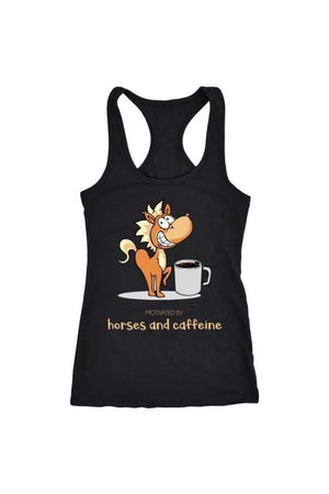Horses and Caffeine - Tops-Tops-teelaunch-Racerback Tank-Black-S-Three Wild Horses