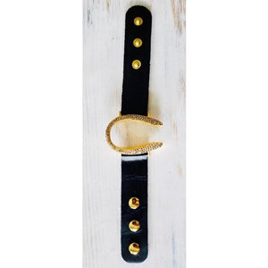 Rebel Designs Gold Horseshoe Leather Bracelet w/ Crystals-Bracelet-Rebel Designs-Three Wild Horses