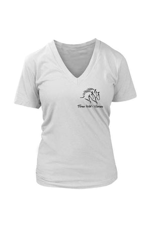 Three Wild Horses - White and Grey Tops-Tops-teelaunch-Womens V-Neck-White-S-Three Wild Horses