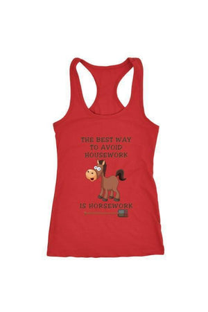 The Best Way To Avoid Housework - Tops-Tops-teelaunch-Racerback Tank-Red-S-Three Wild Horses