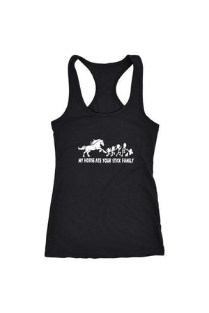 My Horse Ate Your Stick Family - Tops-Tops-teelaunch-Racerback Tank-Black-S-Three Wild Horses