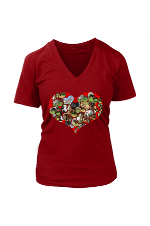 Heart Shape Horses - Tops-Tops-teelaunch-Womens V-Neck-Red-S-Three Wild Horses