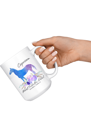 Capricorn Zodiac Horse White Coffee Mug-Drinkware-teelaunch-Capricorn Blue Horse Mug-Three Wild Horses