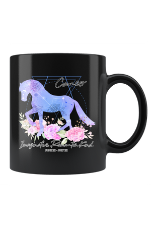 Cancer Zodiac Horse Black Coffee Mug-Drinkware-teelaunch-Cancer Purple Horse Black Mug-Three Wild Horses