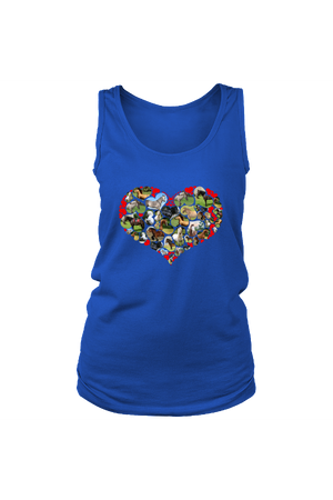 Heart Shape Horses - Tank Tops-Tops-teelaunch-Royal Blue-S-Three Wild Horses