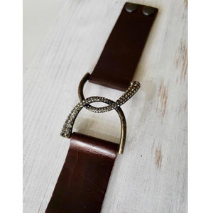 Rebel Designs Double Horseshoe Antique Brass Leather Bracelet w/ Silver Night Crystals-Bracelet-Rebel Designs-Three Wild Horses