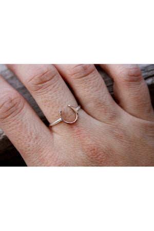 Thin Horseshoe Ring-Jewelry-JenCervelli-Copper/Silver Band-4-Three Wild Horses