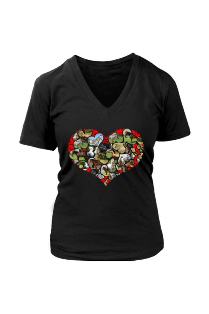 Heart Shape Horses - Tops-Tops-teelaunch-Womens V-Neck-Black-S-Three Wild Horses