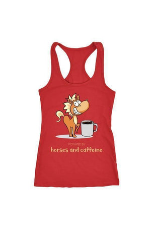 Horses and Caffeine - Tops-Tops-teelaunch-Racerback Tank-Red-S-Three Wild Horses