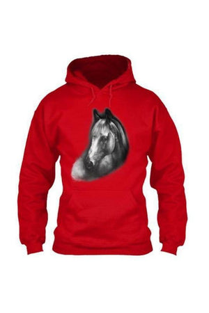 Horse Portrait - Long Sleeve-Long Sleeve-Teescape-HOODIE-Red-S-Three Wild Horses