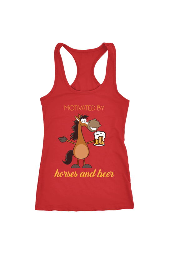 Horses and Beer - Tops-Tops-teelaunch-Racerback Tank-Red-S-Three Wild Horses