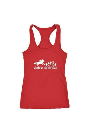 My Horse Ate Your Stick Family - Tops-Tops-teelaunch-Racerback Tank-Red-S-Three Wild Horses