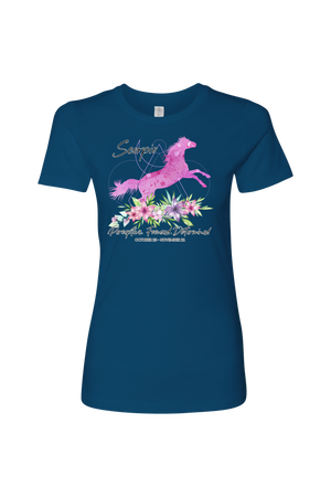 Scorpio Horse Shirt for Women-T-shirt-teelaunch-Next Level Womens Shirt-Cool Blue-S-Three Wild Horses
