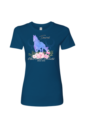 Taurus Horse Shirt for Women-T-shirt-teelaunch-Next Level Womens Shirt-Cool Blue-S-Three Wild Horses