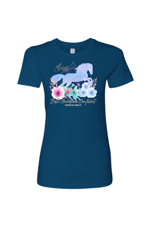 Aries Horse Shirt for Women-T-shirt-teelaunch-Next Level Womens Shirt-Cool Blue-S-Three Wild Horses