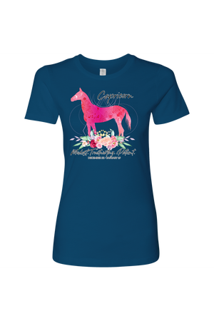 Capricorn Horse Shirt for Women-T-shirt-teelaunch-Next Level Womens Shirt-Cool Blue-S-Three Wild Horses