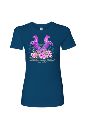Gemini Horse Shirt for Women-T-shirt-teelaunch-Next Level Womens Shirt-Cool Blue-S-Three Wild Horses