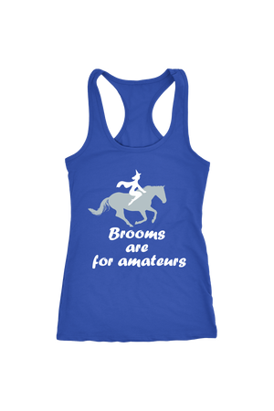 Brooms Are For Amateurs - Tops-Tops-teelaunch-Racerback Tank-Royal Blue-S-Three Wild Horses