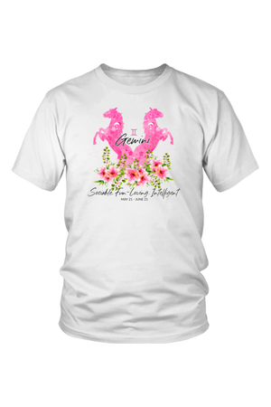 Gemini Horse Unisex Shirt-T-shirt-teelaunch-District Unisex Shirt-White-S-Three Wild Horses