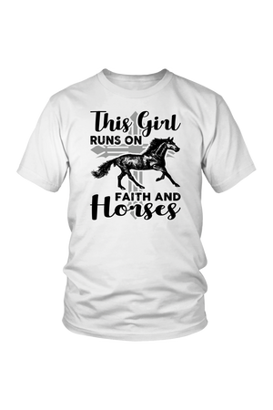 Lavender This Girl Runs on Faith & Horses T-Shirt in White