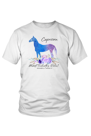 Capricorn Horse Unisex Shirt-T-shirt-teelaunch-District Unisex Shirt-White-S-Three Wild Horses