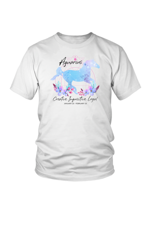 Aquarius Horse Unisex Shirt-T-shirt-teelaunch-District Unisex Shirt-White-S-Three Wild Horses