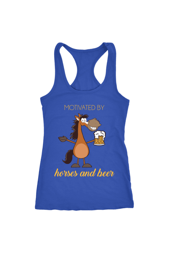 Horses and Beer - Tops-Tops-teelaunch-Racerback Tank-Royal Blue-S-Three Wild Horses